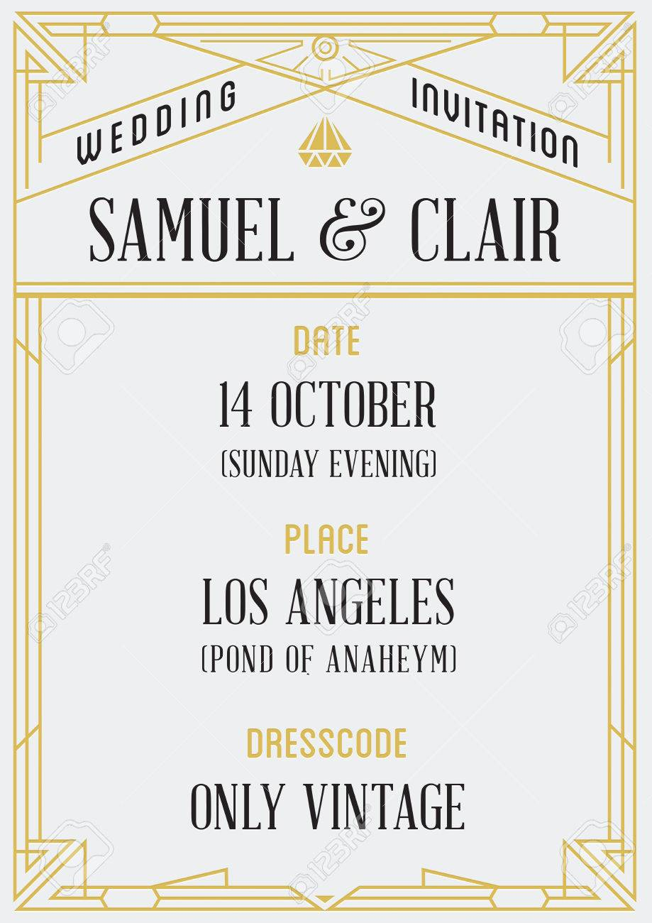 Gatsby Style Invitation in Art Deco or Nouveau Epoch 1920's Gangster Era Vector - 51703712