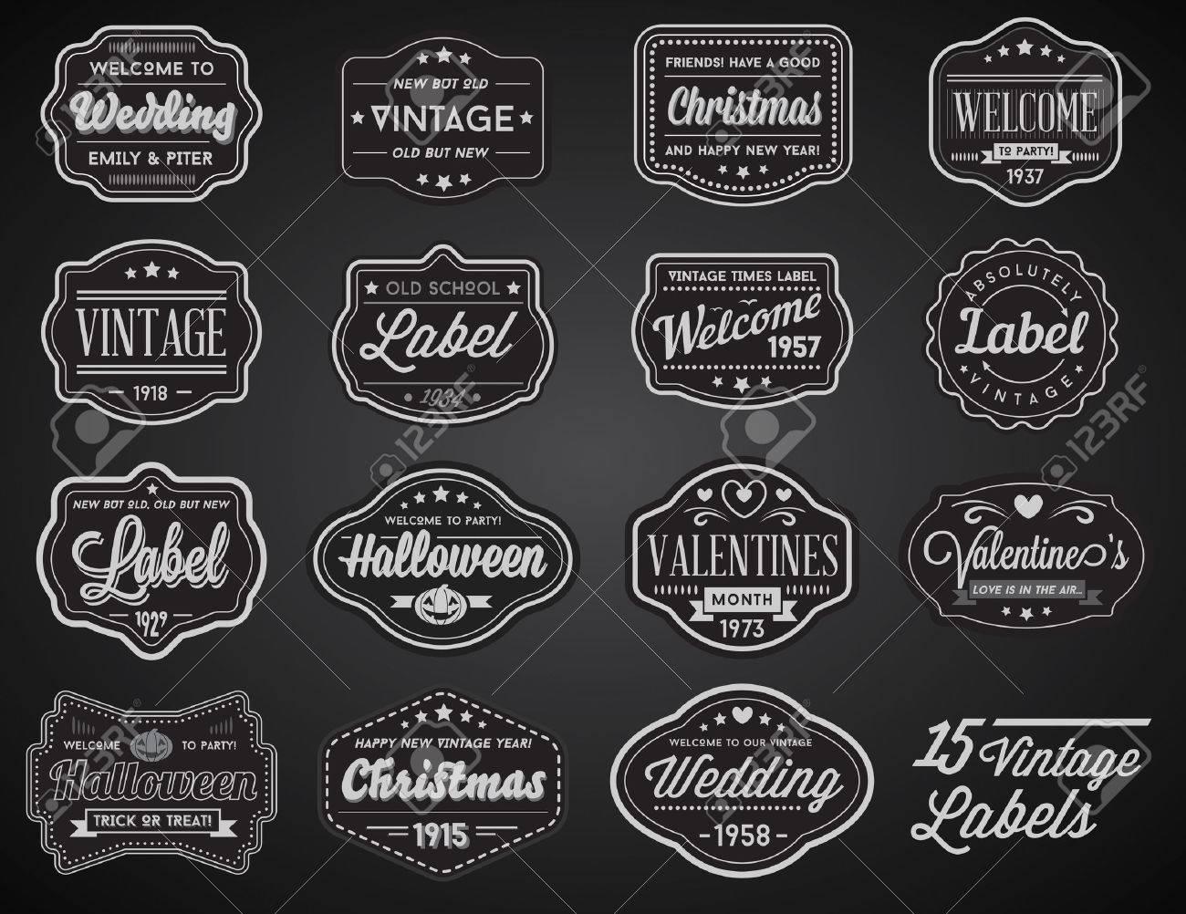 Vector Set of Vintage Retro Styled Premium Design Labels - 53371578