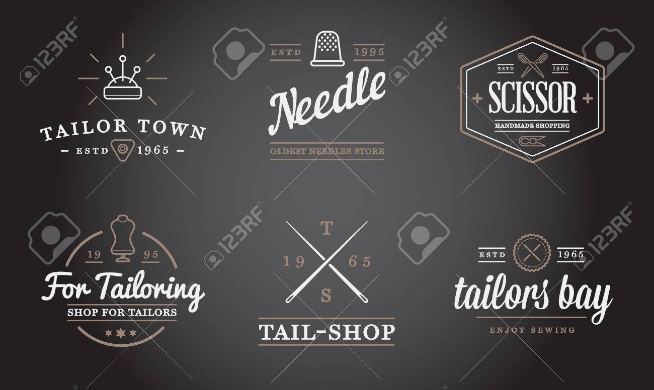 Set of Vector Tailoring Tailor Sew Elements and Sewing Knitting Illustration can be used as Logo or Icon in premium quality - 53371973