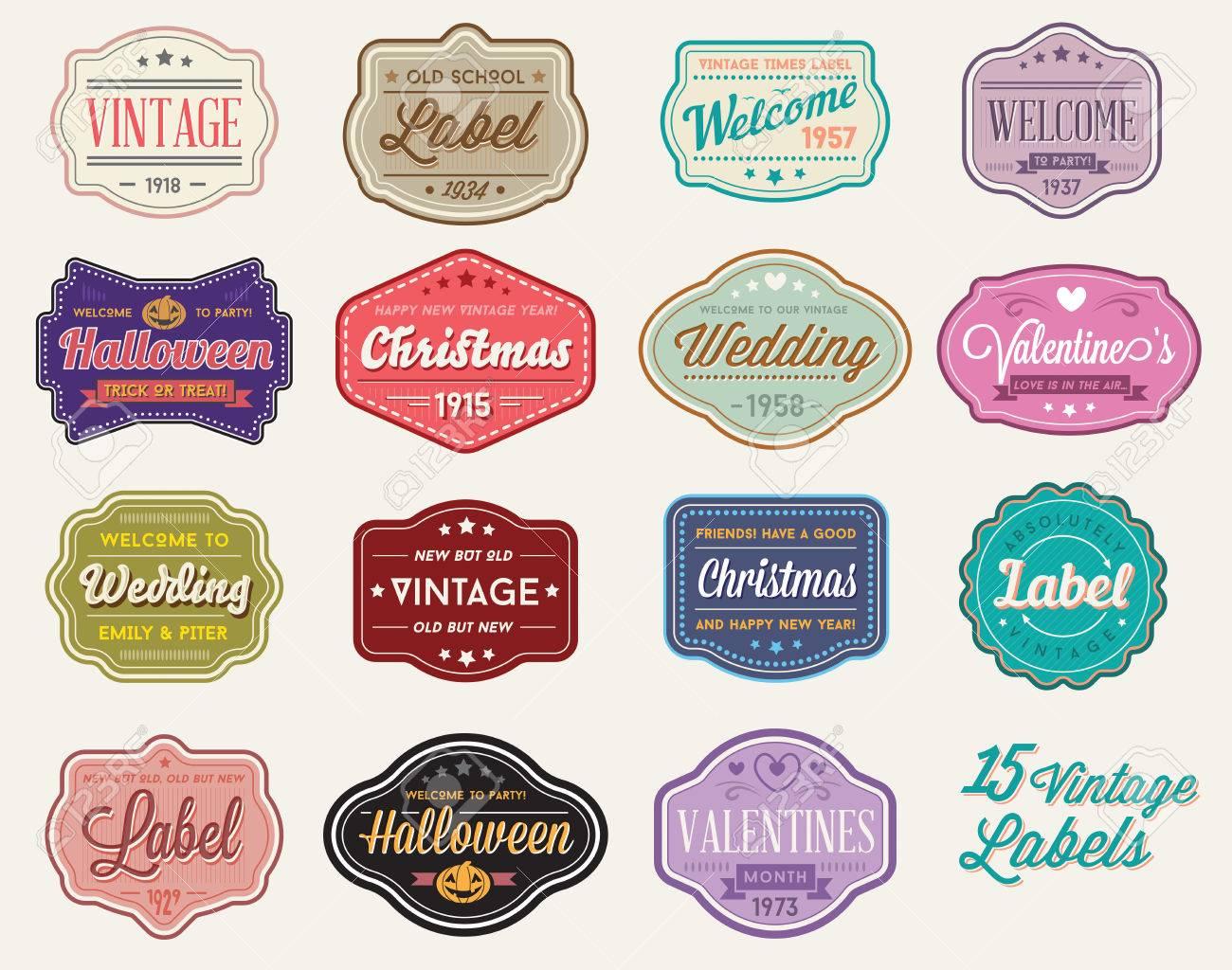 Vector Set of Vintage Retro Styled Premium Design Labels - 53374784