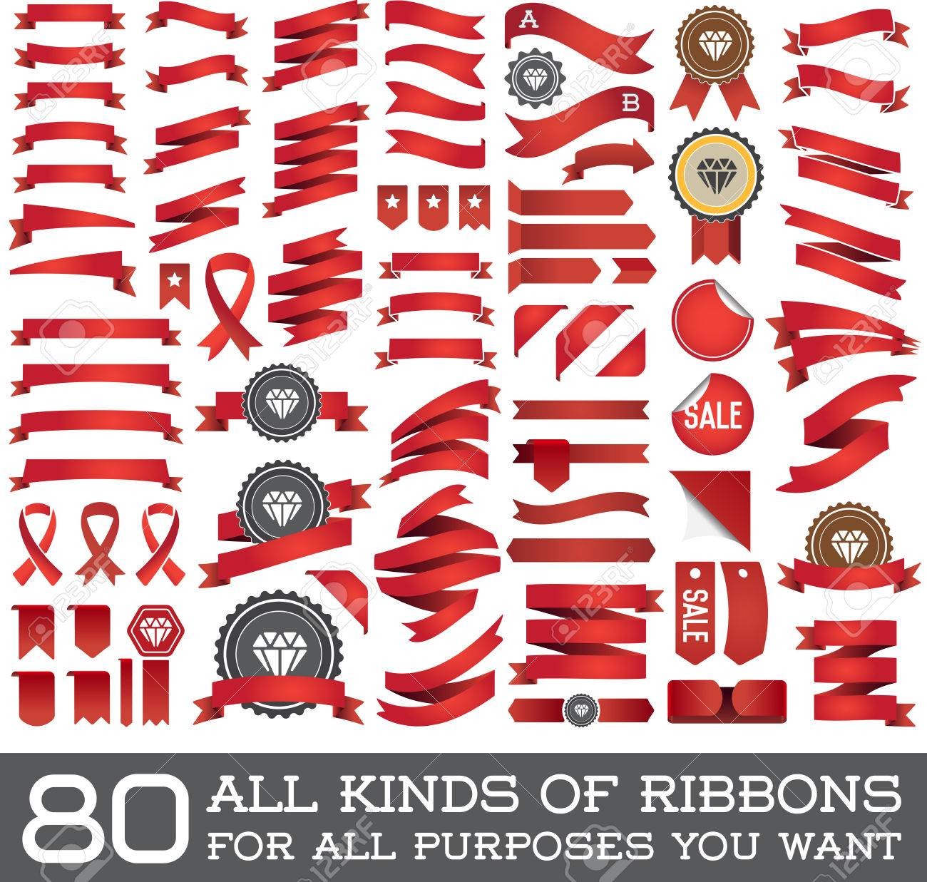 Big Set of Ribbons and Labels in Vector Retro and Vintage for All Purposes - 53377172
