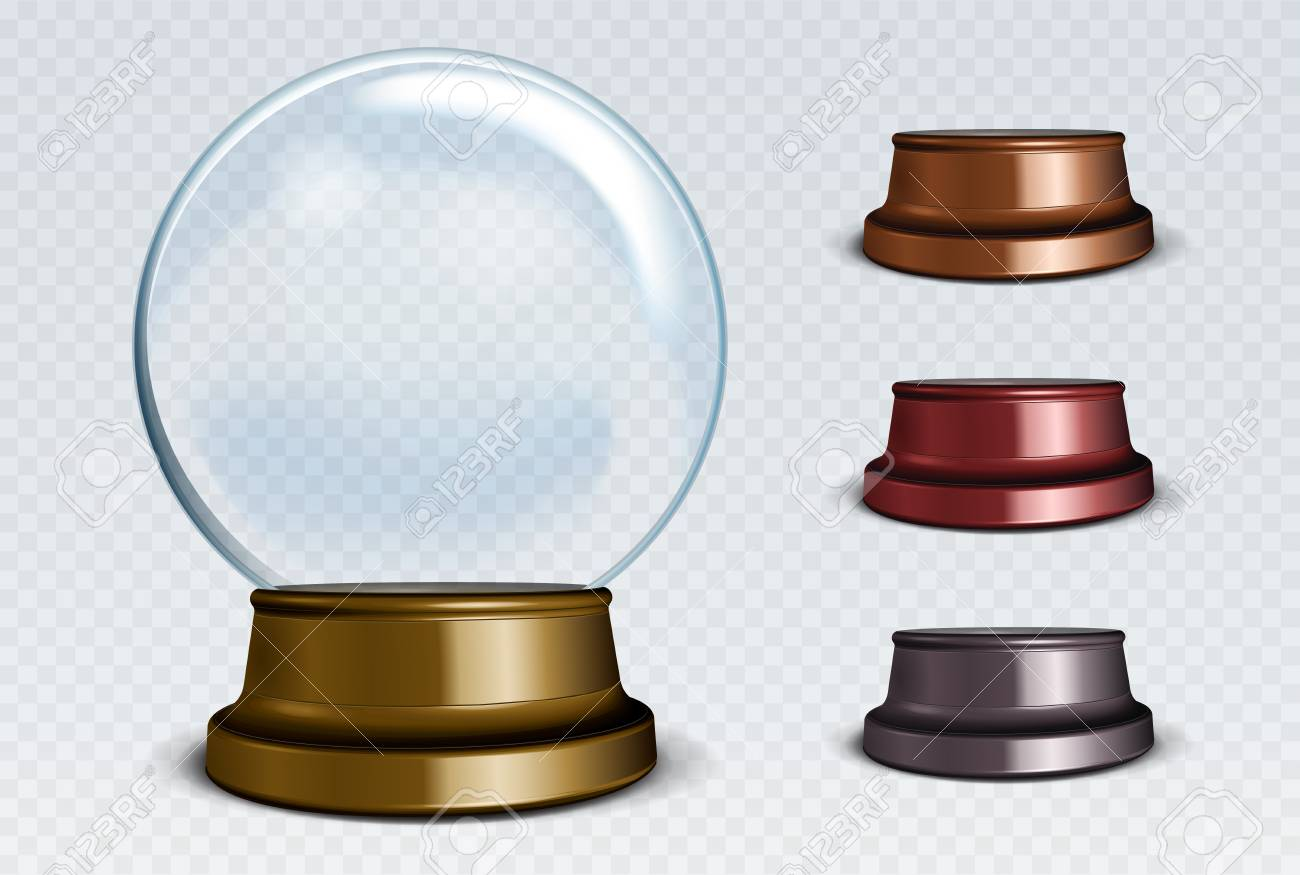 Vector Empty Snow Globe Set. White transparent glass sphere on a stand with glares and highlights. - 63618152