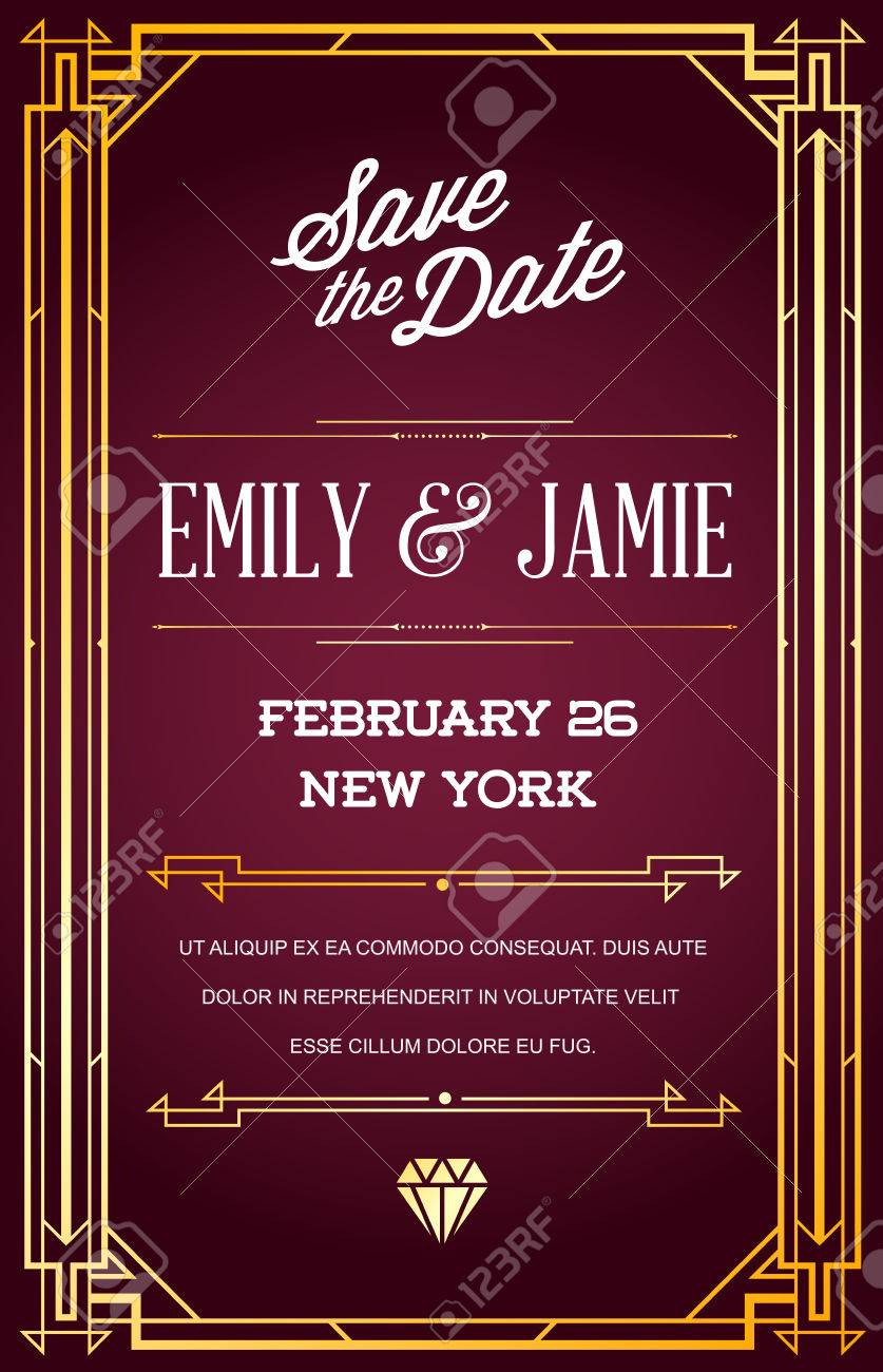 Great Quality Style Invitation In Art Deco Or Nouveau Epoch 1920\'s ...