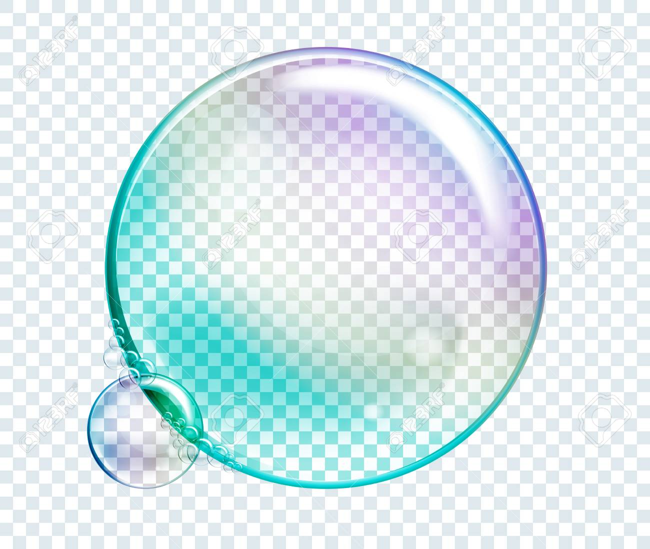 vector rainbow water bubbles transparent isolated realistic