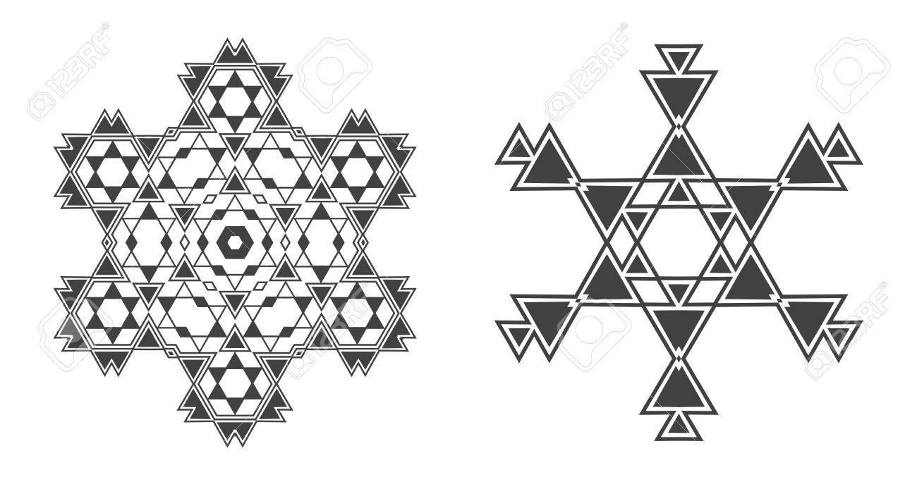 Israel Judio étnico Mandala Del Fractal Del Copo De Nieve Del Vector ...