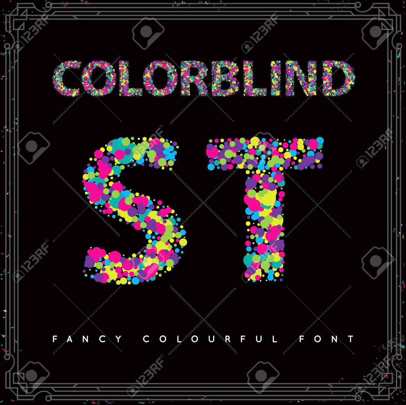 Set of Colorblind Style Font in Vector. Fresh trendy colors. - 63674949