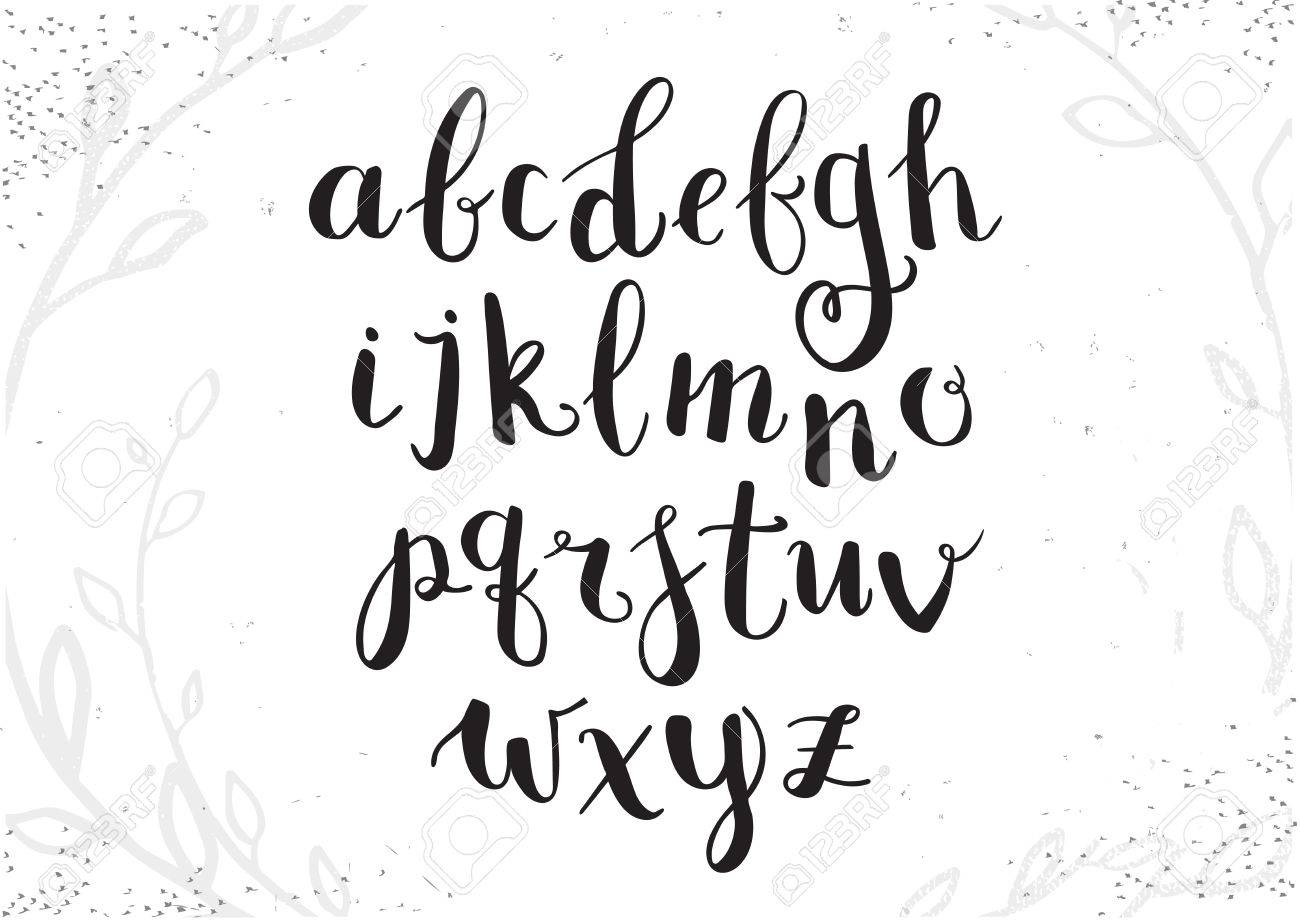 Vector Hand Drawn Script Alphabet Letters Written With A Brush