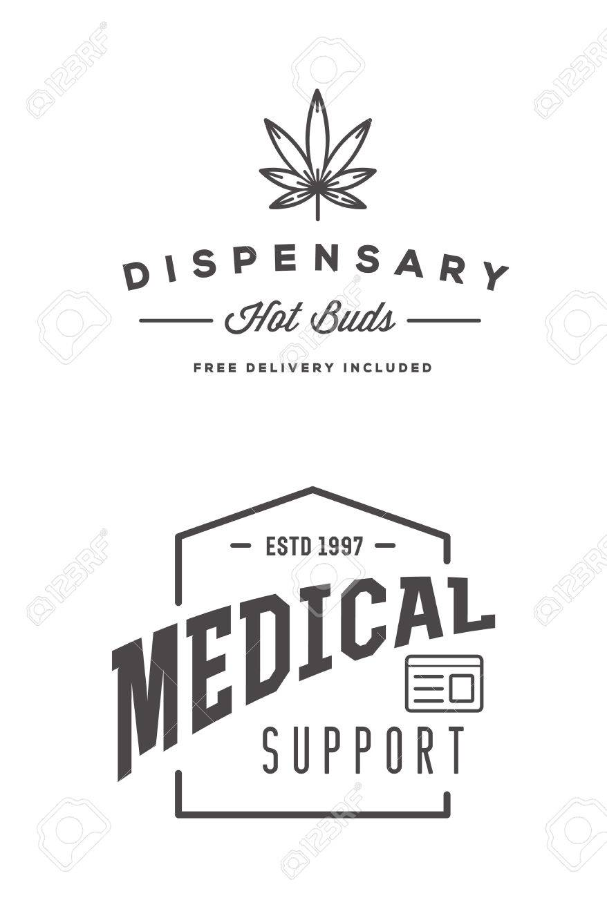 Set of Medical Cannabis Marijuana Sign or Label Template in Vector. - 63743898