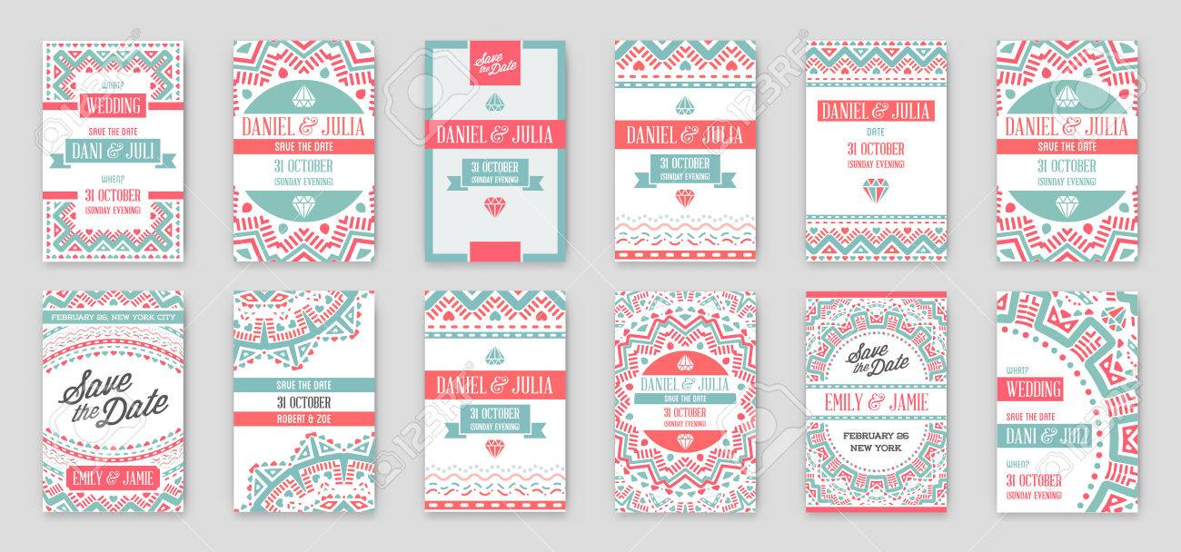 Set Of Vector Design Awesome Wedding Invitation Template With ...