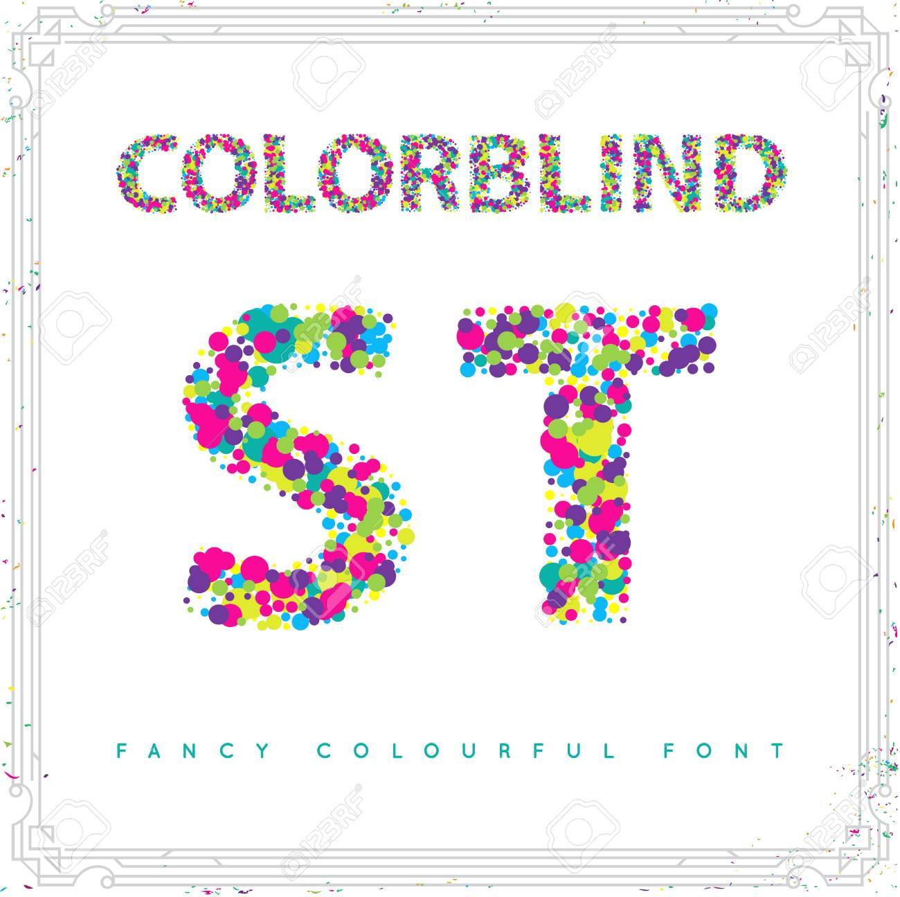 Set of Colorblind Style Font in Vector. Fresh trendy colors. - 63744491