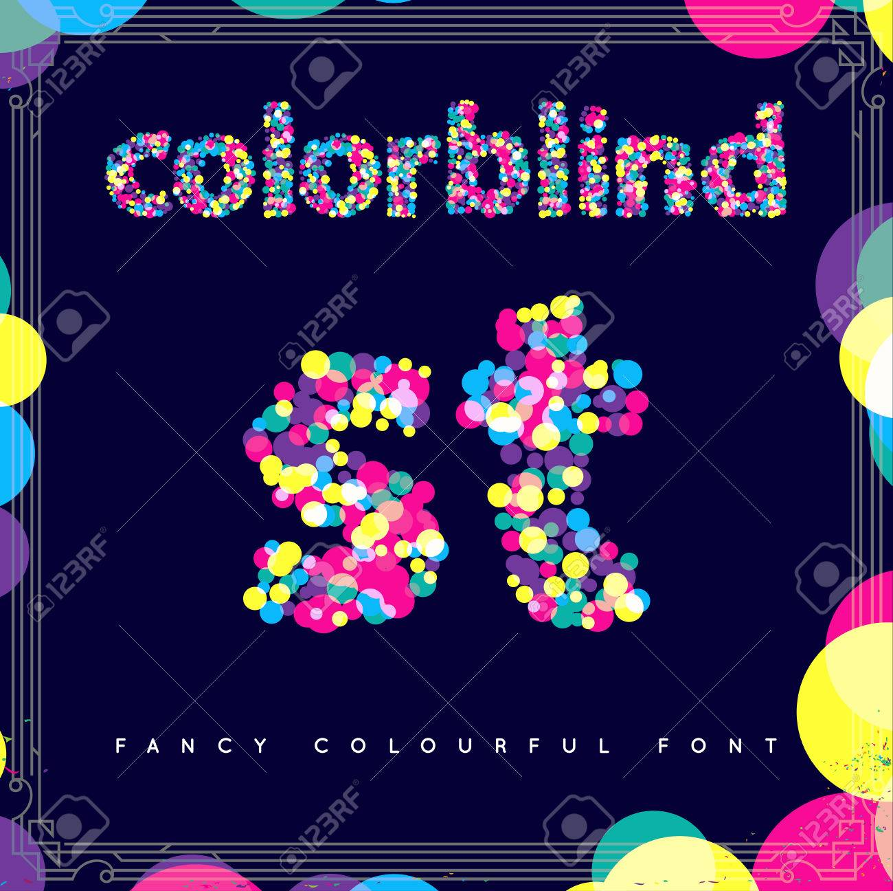 Set of Colorblind Style Font in Vector. Fresh trendy colors. - 63744545