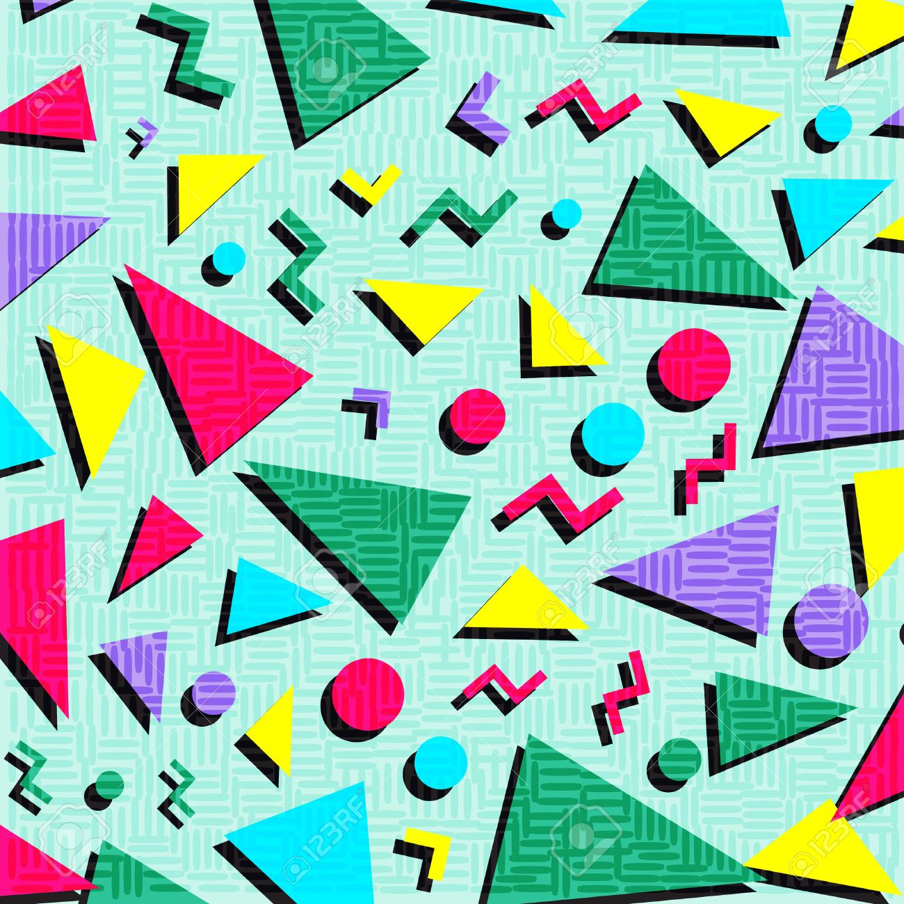 Retro vintage 80s or 90s fashion style abstract pattern background. Good for textile fabric design, wrapping paper and website wallpapers. Vector illustration. - 63744687
