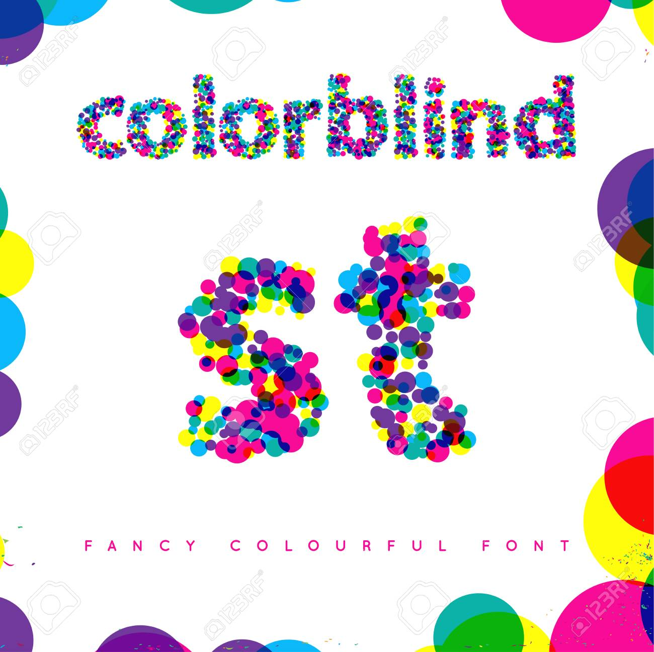 Set of Colorblind Style Font in Vector. Fresh trendy colors. - 63656531