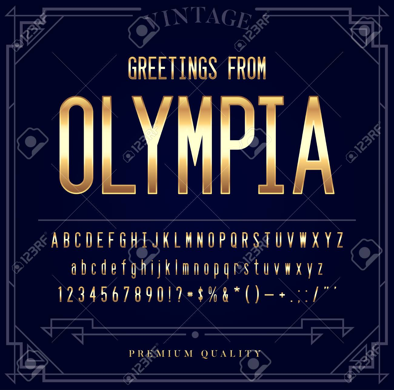 Gold Metallic Font Set. Letters, Numbers and Special Characters in Vector - 77834666