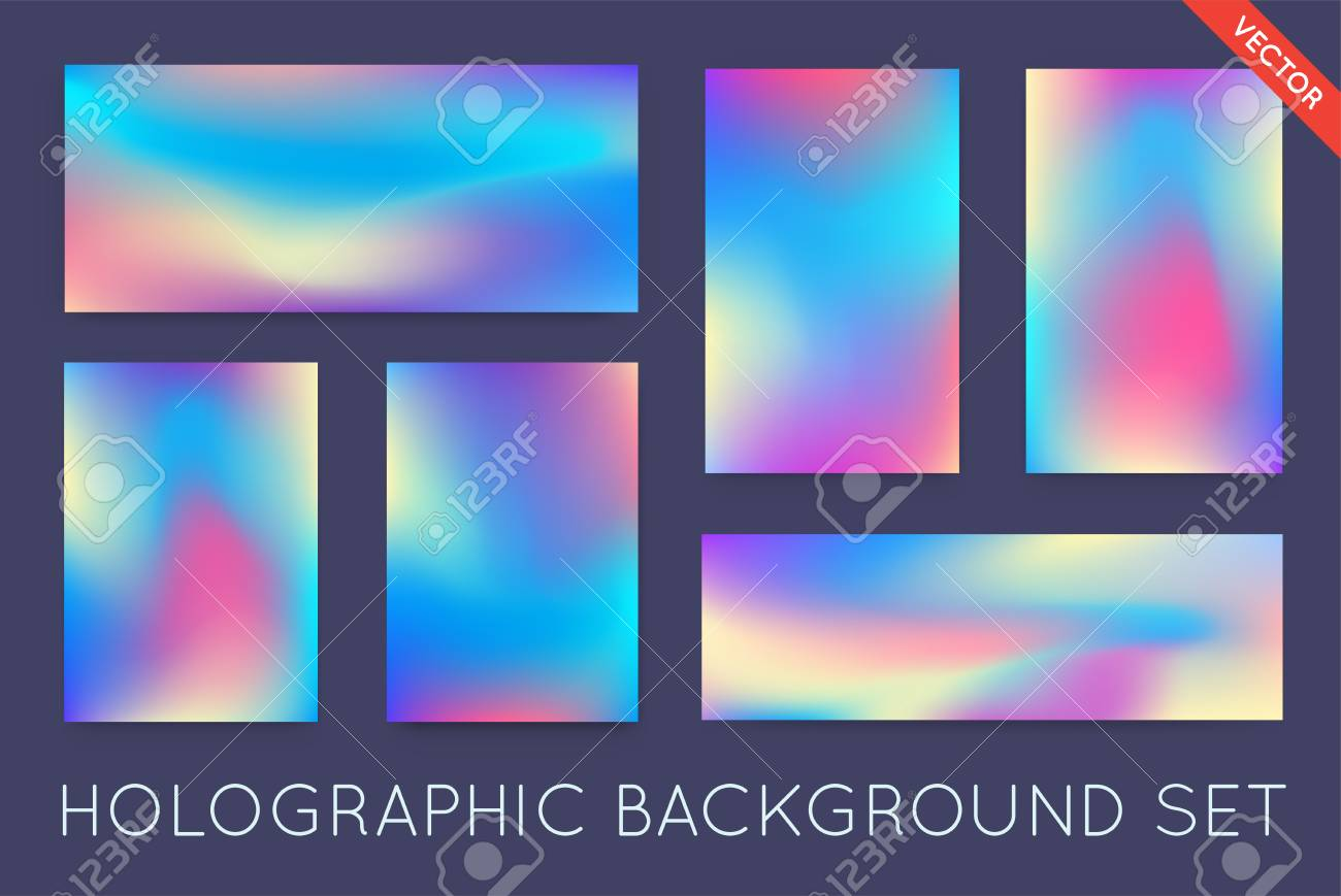 Set of Holographic Trendy Backgrounds. Can be used for Cover, Book, Print, Fashion. - 77910228