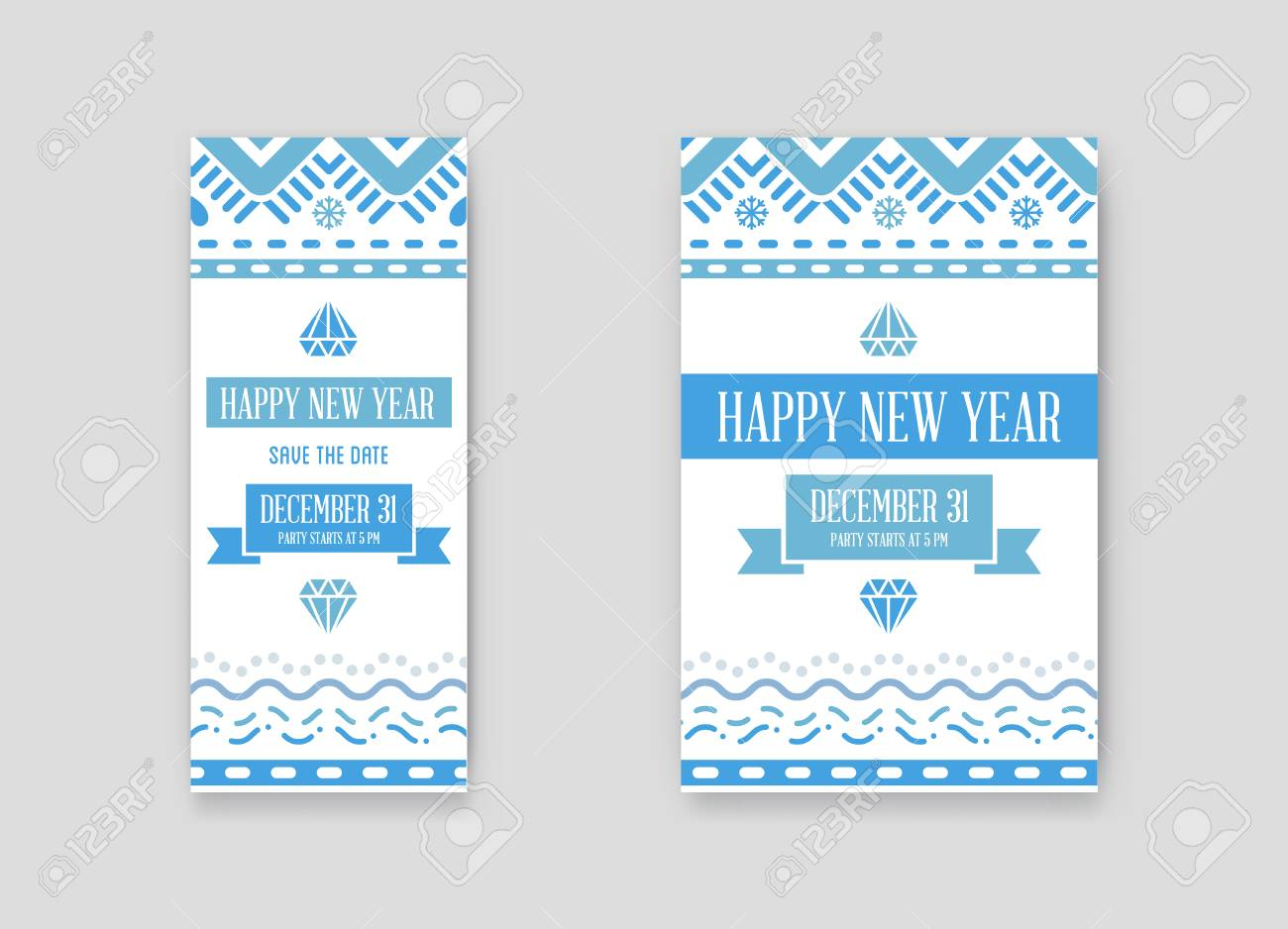set of vector happy new year or merry christmas theme save the date invitation to the