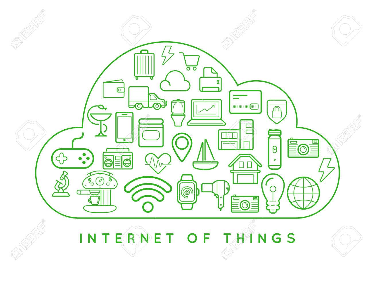 Cloud IOT Internet of Things Smart Home Vector Quality Design with Icons - 77909889
