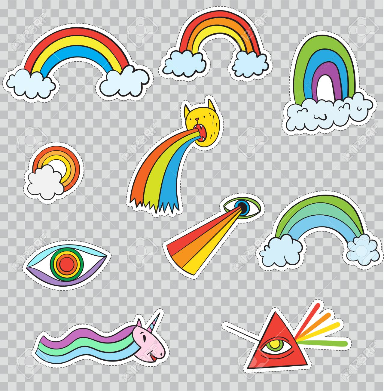 Patch Badges With Fancy Rainbows Vector Illustration Isolated On Transparent Background Set Pack Of