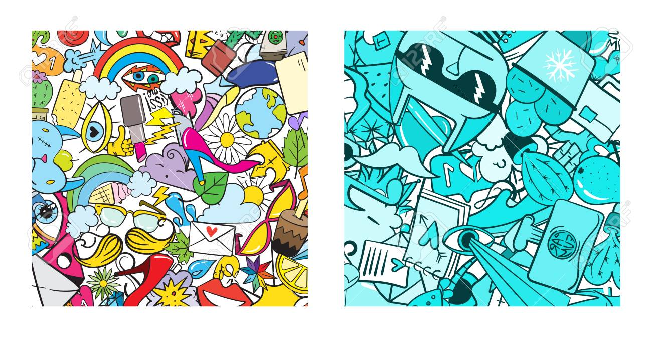 Set of Graffiti pattern with urban lifestyle line icons. Crazy doodle abstract vector background. Trendy linear style collage with bizarre street art elements. - 77909818
