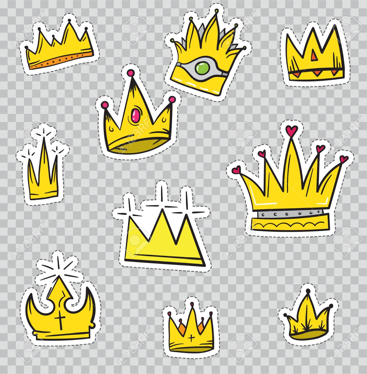 Patch Badges With Crowns Vector Illustration Isolated On Transparent Royalty Free Cliparts Vectors And Stock Illustration Image 77835164 Browse and download hd crown png images with transparent background for free. patch badges with crowns vector illustration isolated on transparent