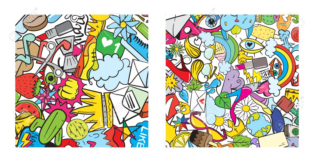 Set of graffiti pattern with urban lifestyle line icons crazy doodle abstract vector background