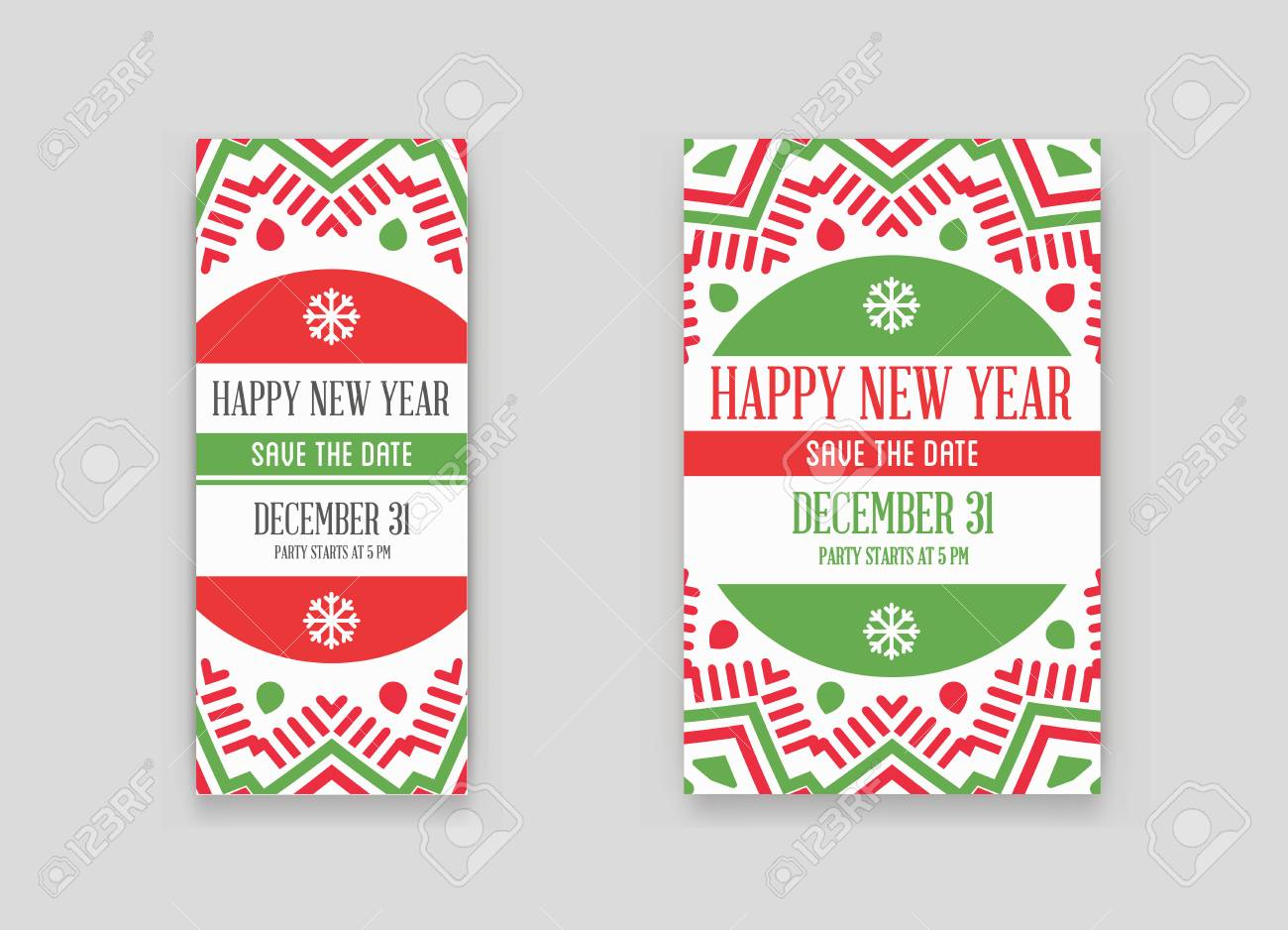 set of vector happy new year or merry christmas theme save the