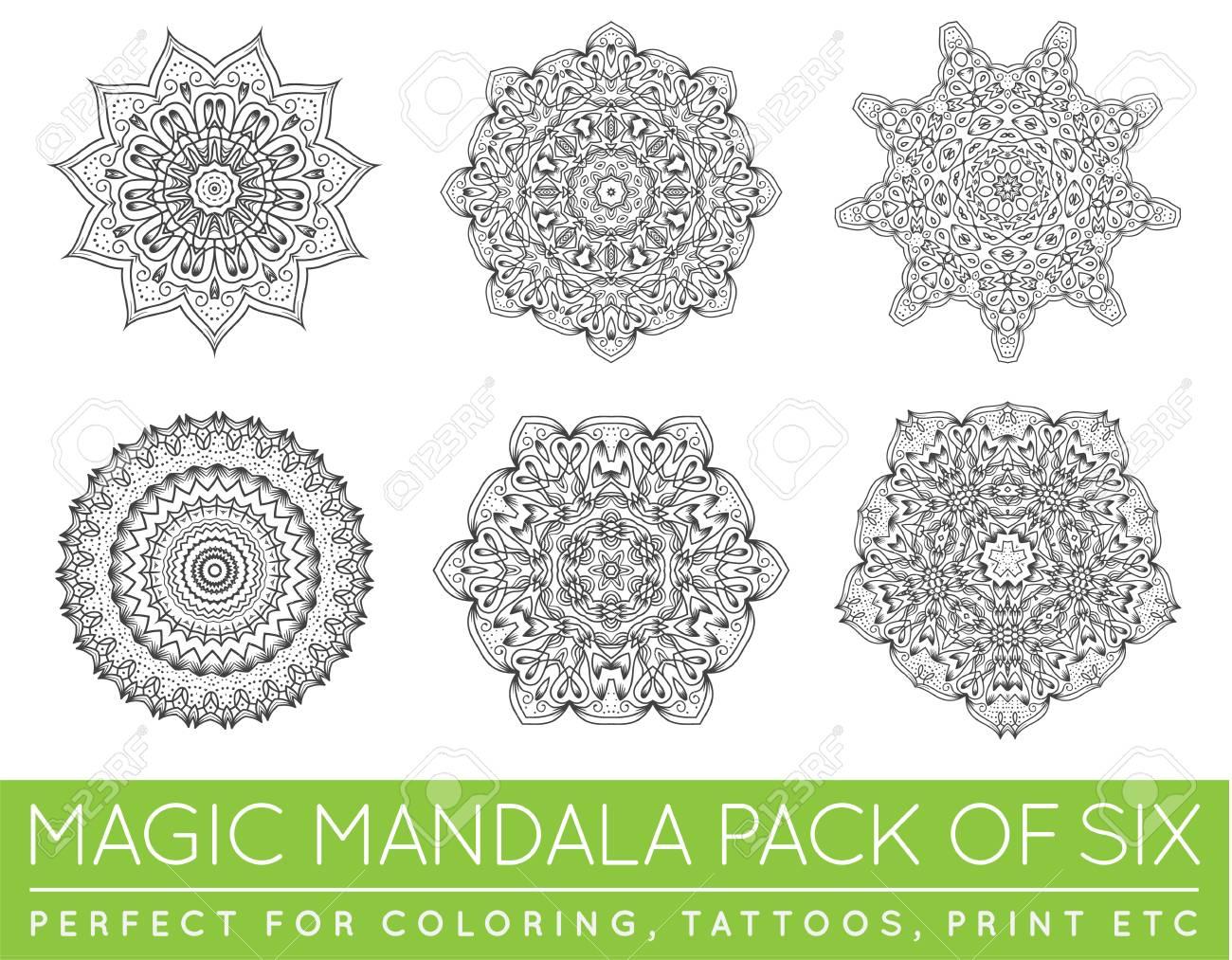 Conjunto De Tatuaje Mandala Vector Mandala étnica Del Tatuaje Parece