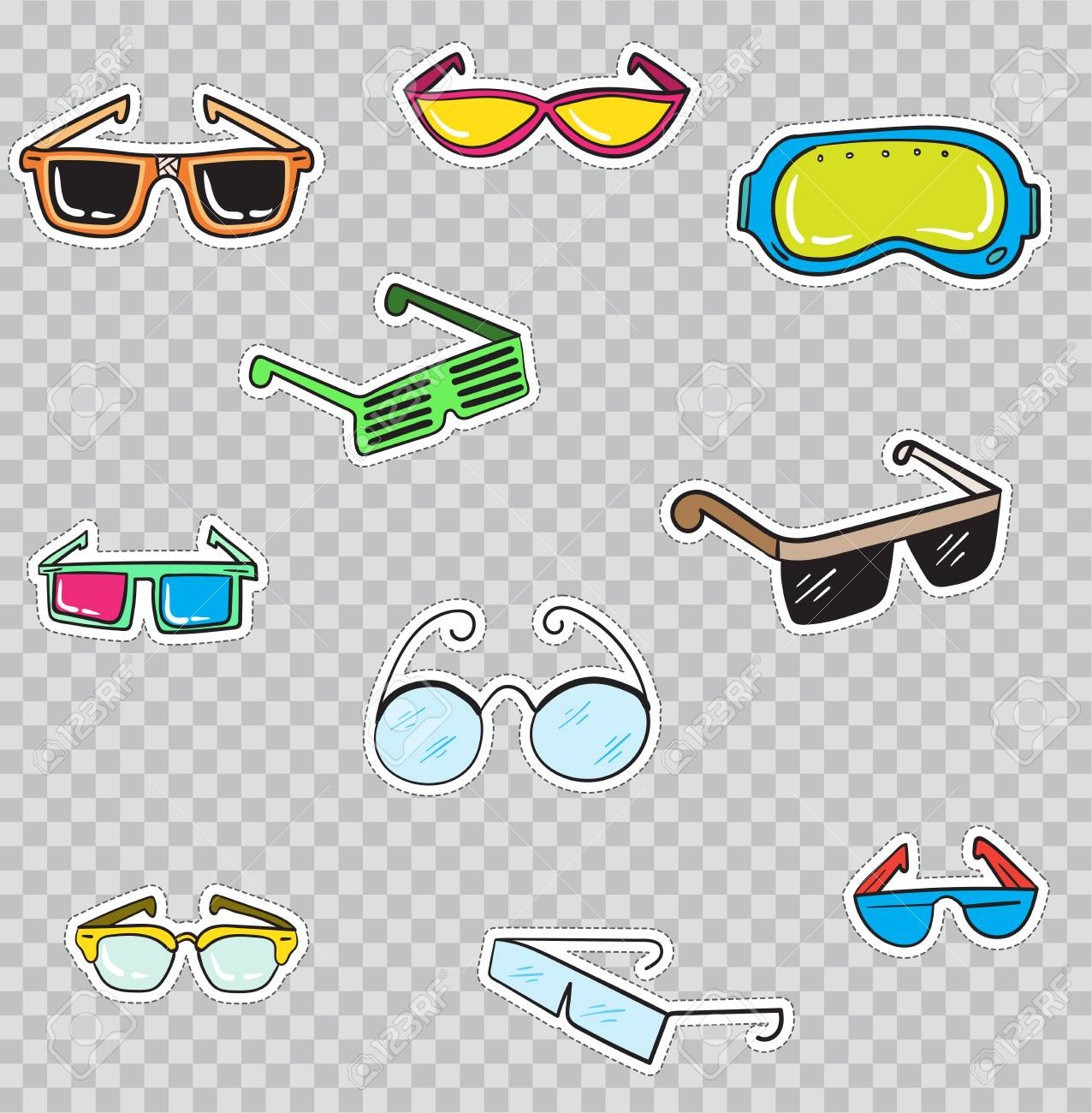 8eb703f5f774 Patch Badges with Glasses. Vector illustration isolated on transparent  background. Set Pack of stickers