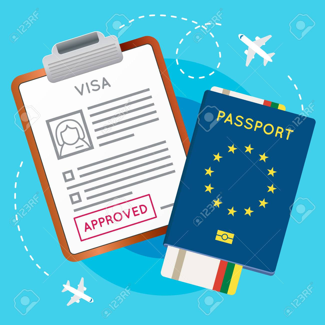 Eurozone Europe Visa Approved Stamp on Document  Passport with