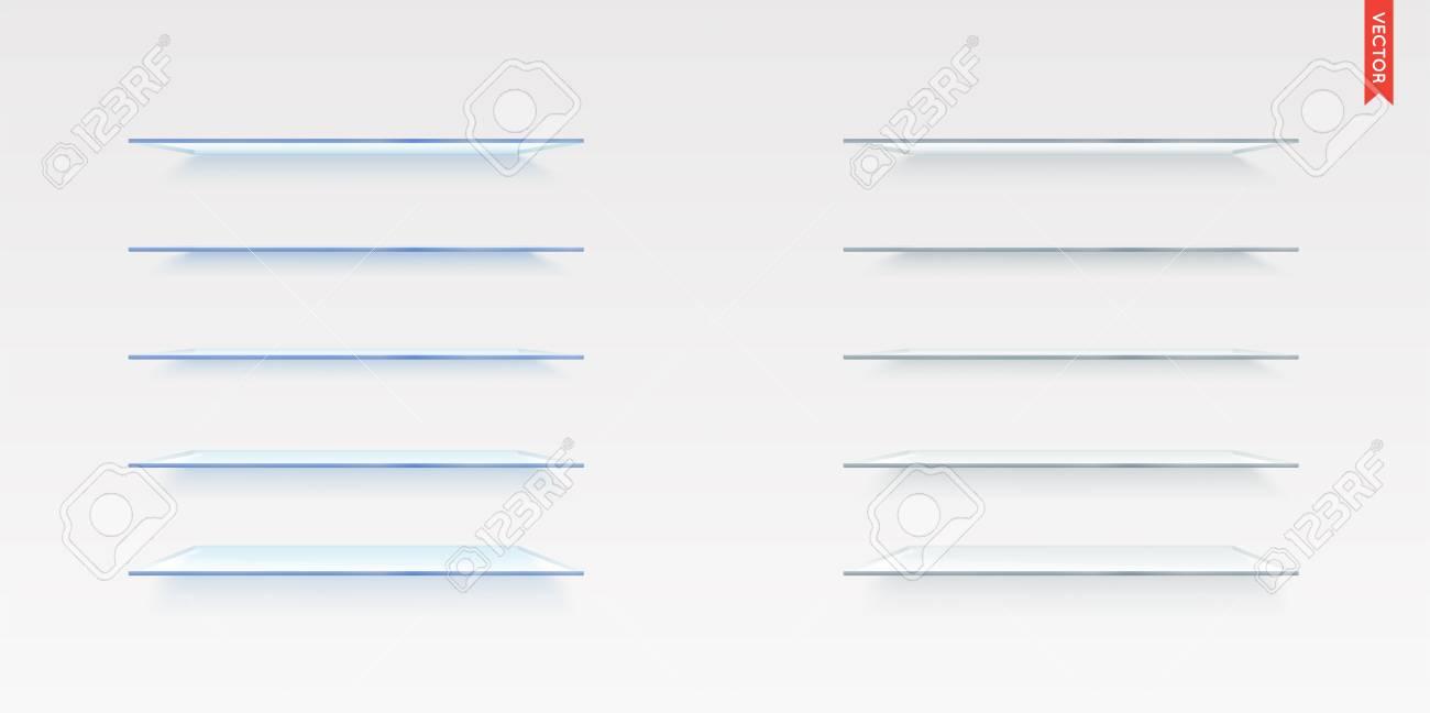 Glazen Muur Plank.Set Van Glazen Planken Vector Geisoleerd Op De Achtergrond Van De Muur