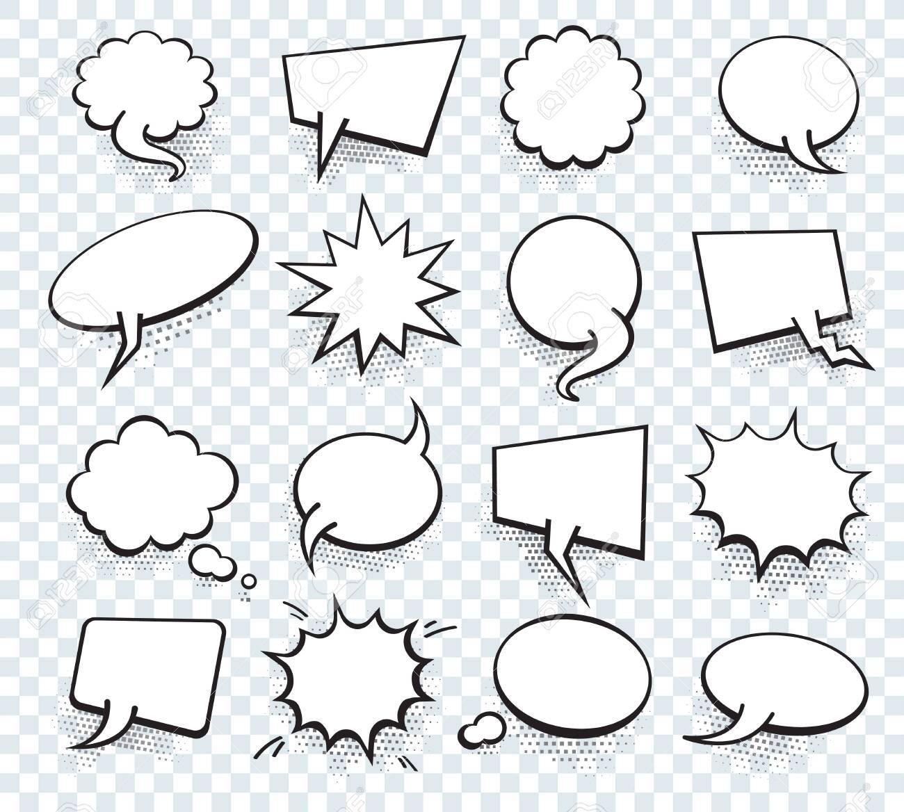 Set of blank template in Pop Art style. Vector Comic Text Speech Bubble Halftone Dot Background. Empty Cloud of Comics book dialog Space for Cartoon Box pop-art. - 148767699