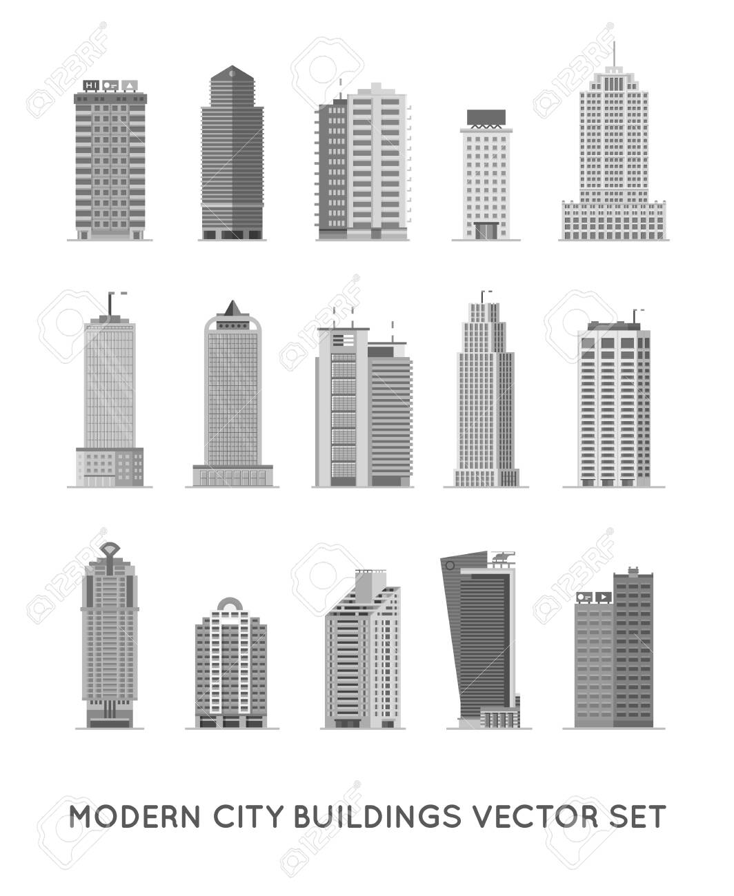 Modern City Buildings and Houses. Flat Vector Icons Set. - 149236625
