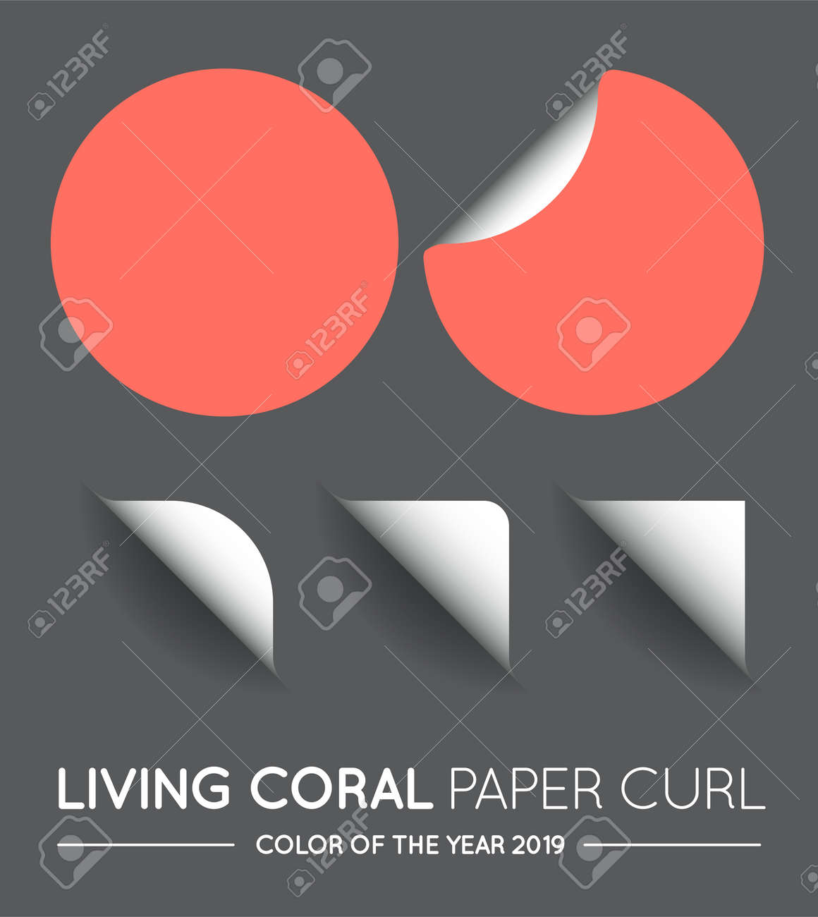 Trendy Color Coral Vector Round Circle with Paper Curl with Shadow Isolated Set. - 157290770