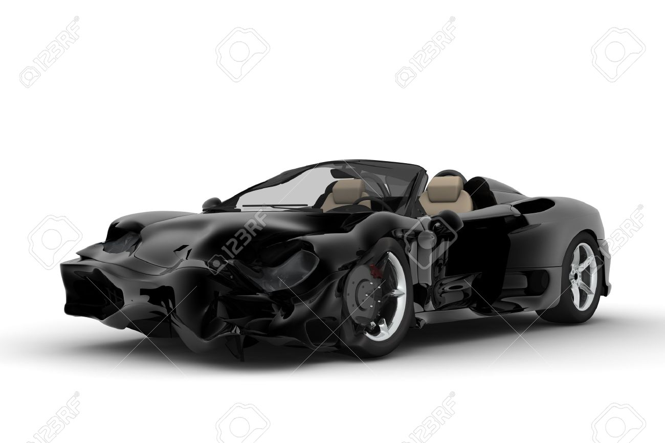 A Black Sport Car Accident On A White Background Stock Photo