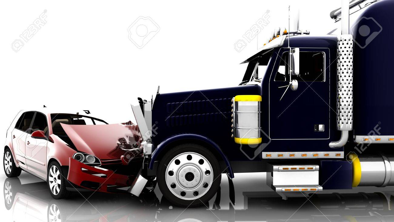 An accident between a red car and a truck Stock Photo - 6729808