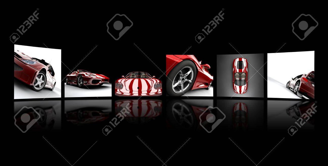 Collection of images of red cars on a black plane Stock Photo - 6729809