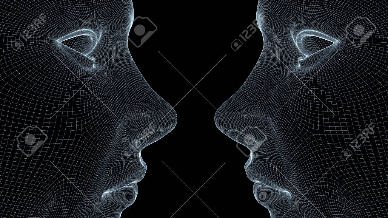 Two wireframe faces Stock Photo - 6729853