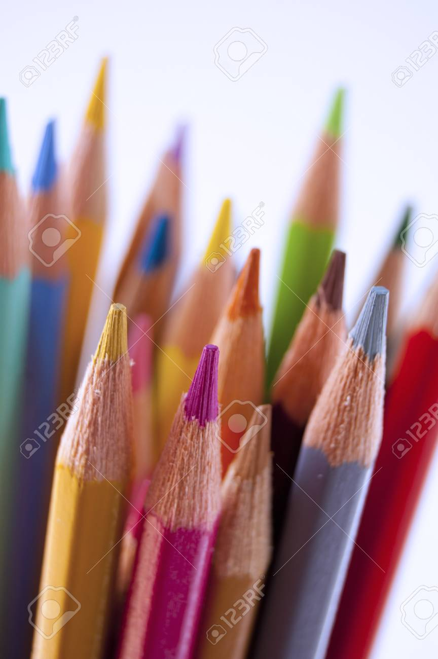 Close up of many colored pencils isolated Stock Photo - 7281035