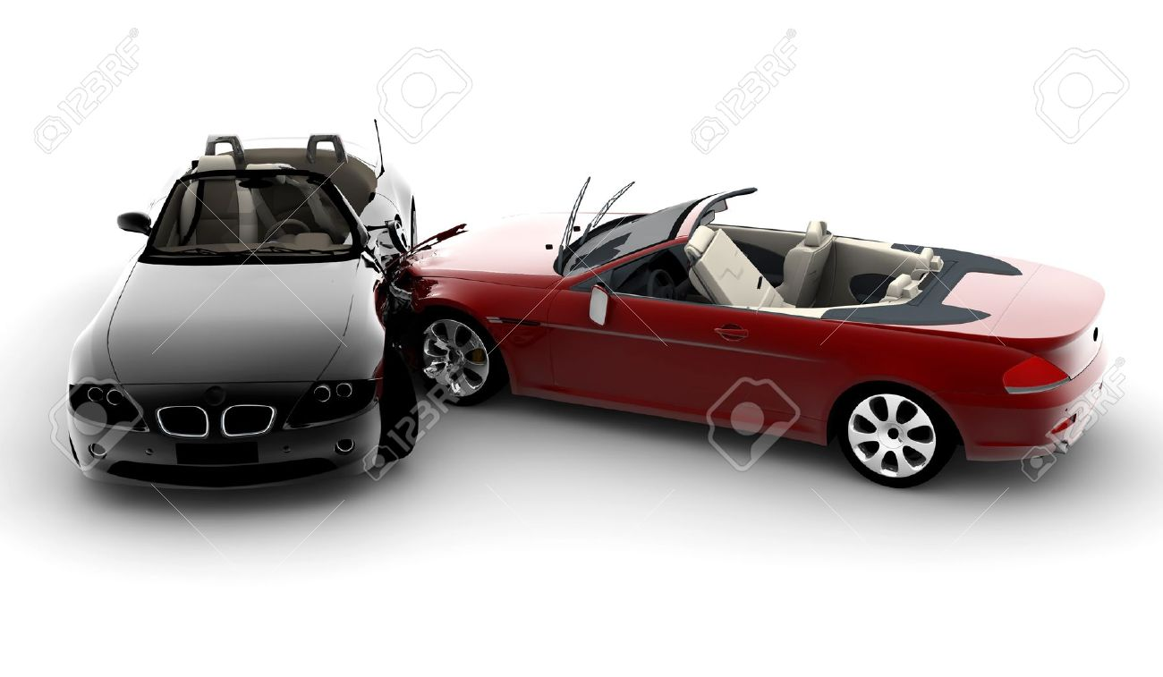 Two cars in an accident isolated on white background Stock Photo - 7879229