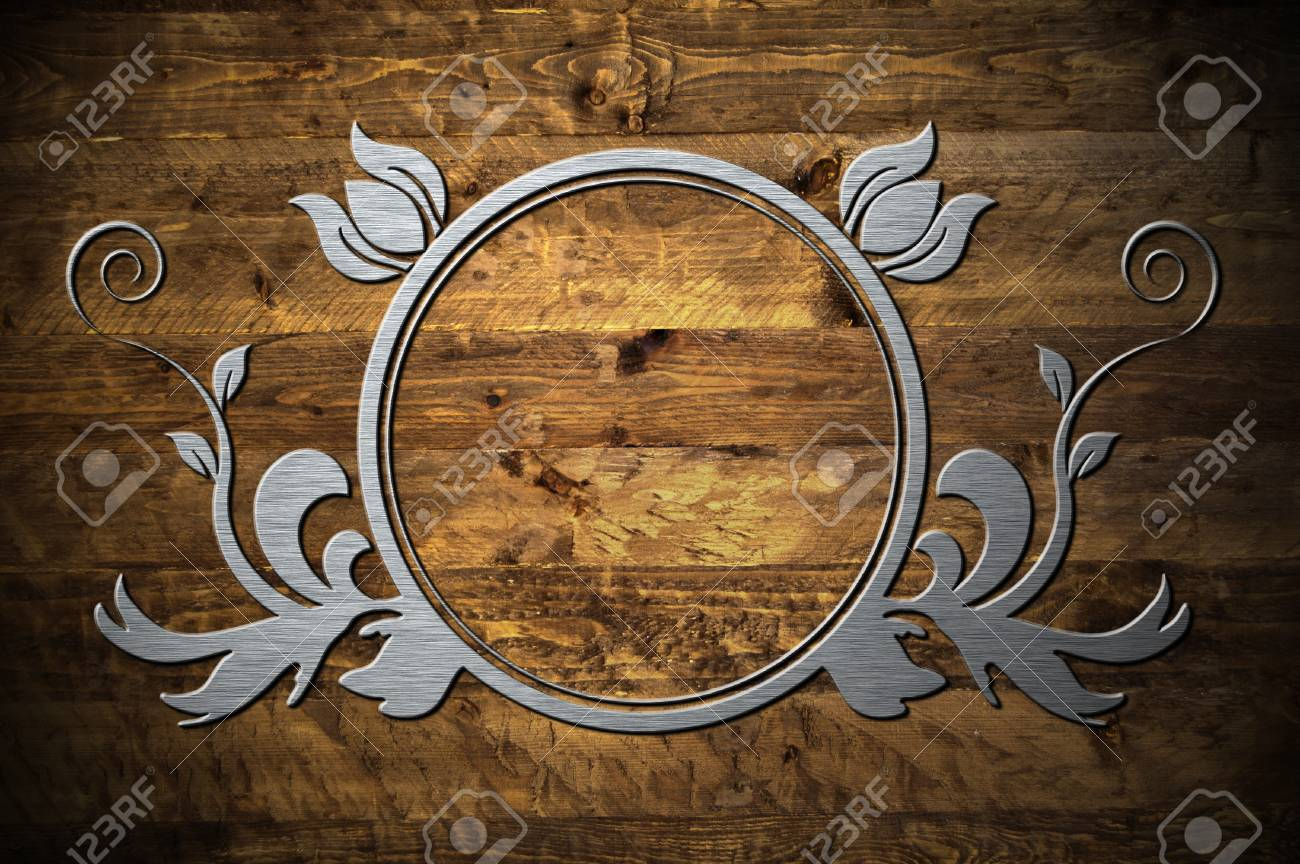 A metal frame on a wooden background Stock Photo - 8017662