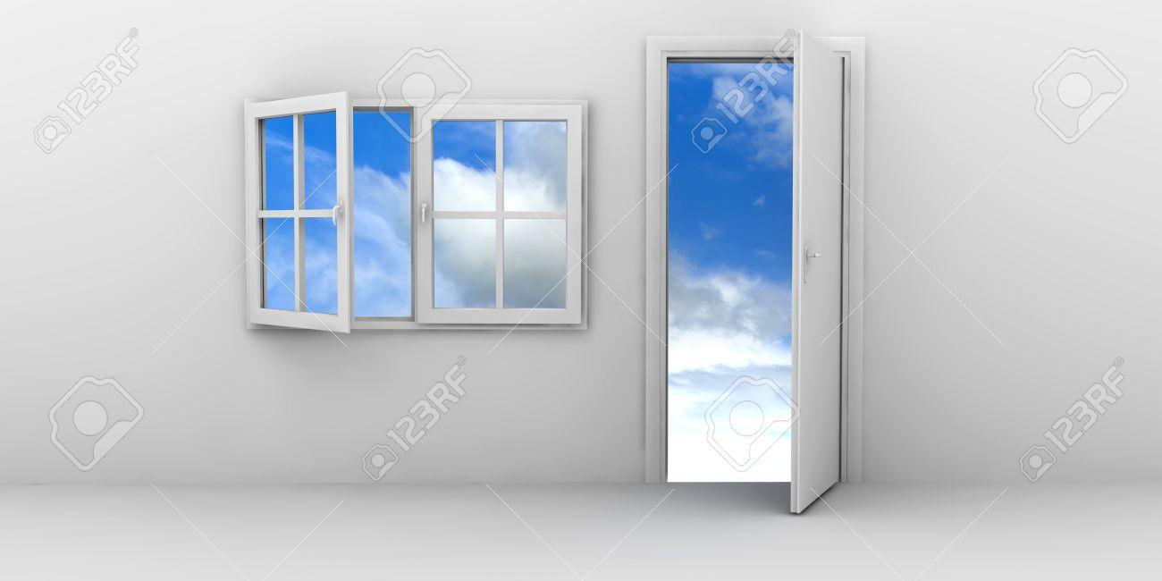 Offenes fenster himmel  Offenes Fenster Und Tür Auf Einem Blauen Himmel Lizenzfreie Fotos ...