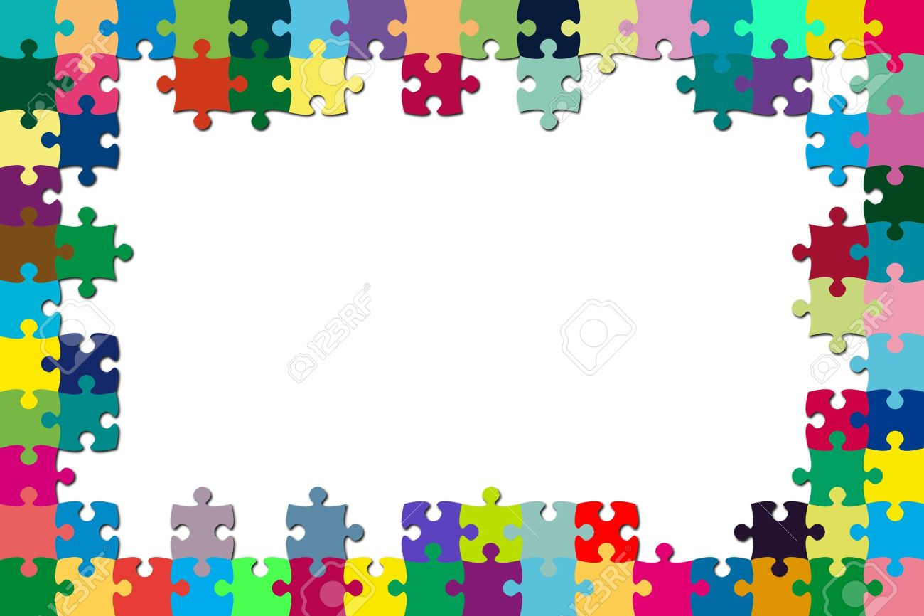 a multicolored puzzle frame with a white background stock photo 8384195