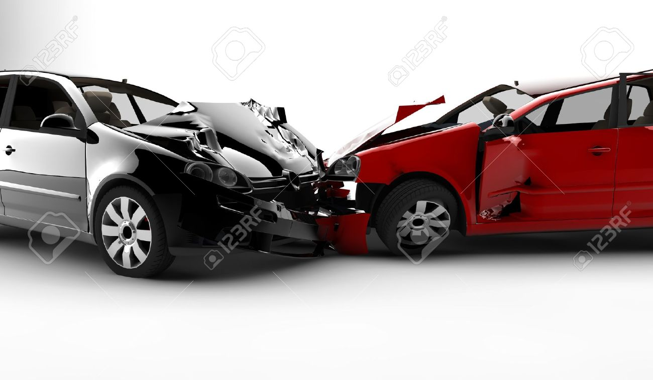 Two cars in an accident isolated on a white background Stock Photo - 8384203