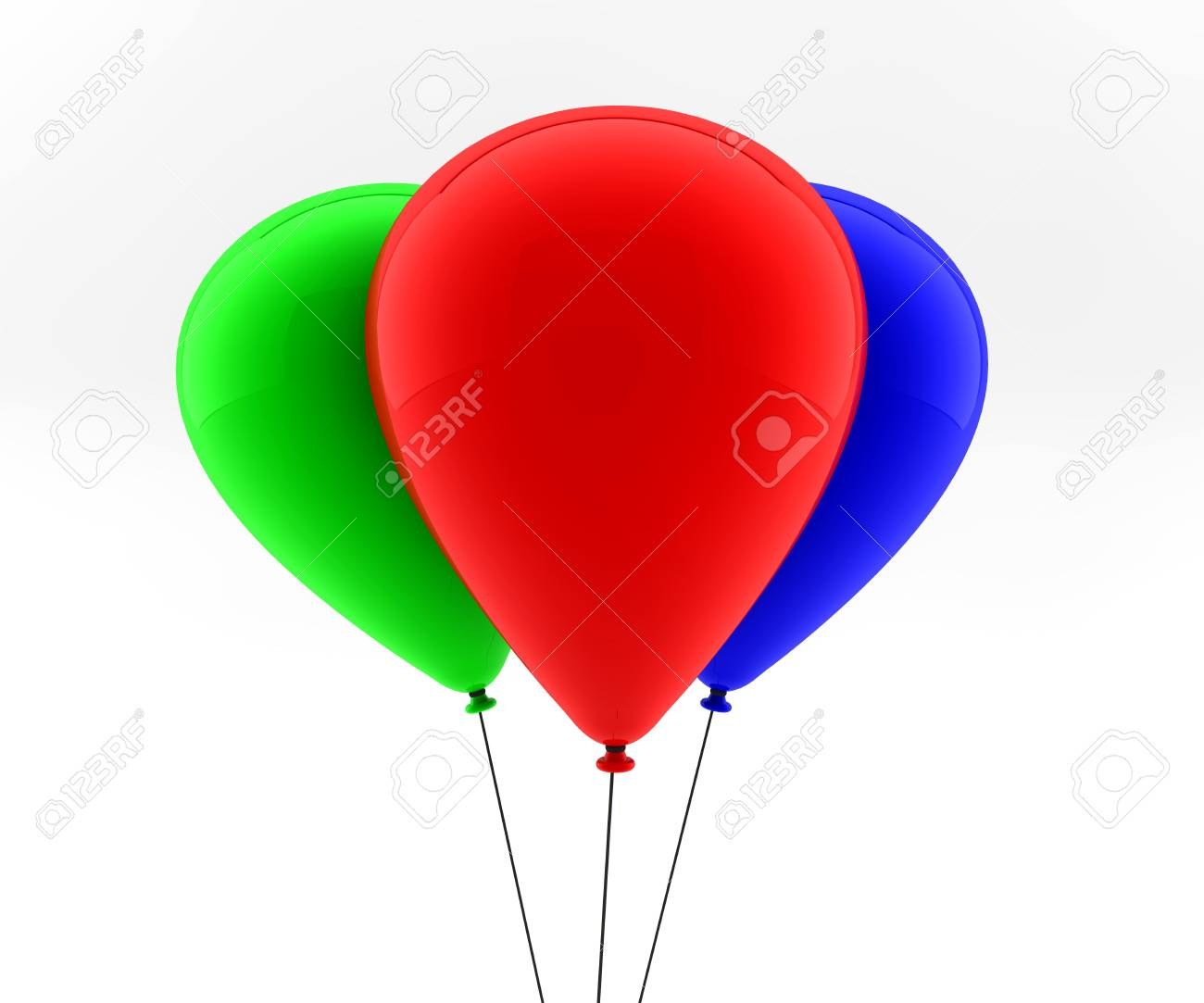 three colored balloons fly in the air Stock Photo - 8509061
