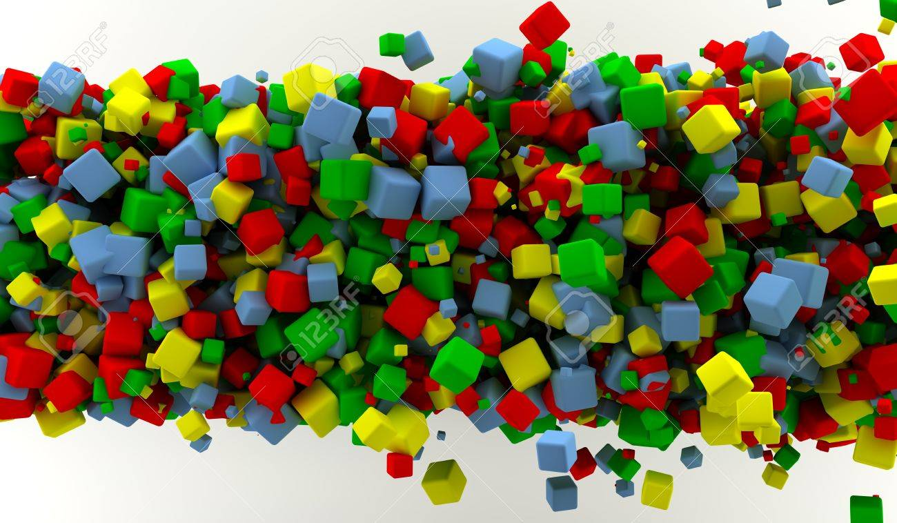 Abstract background with many colored cubes Stock Photo - 9356937