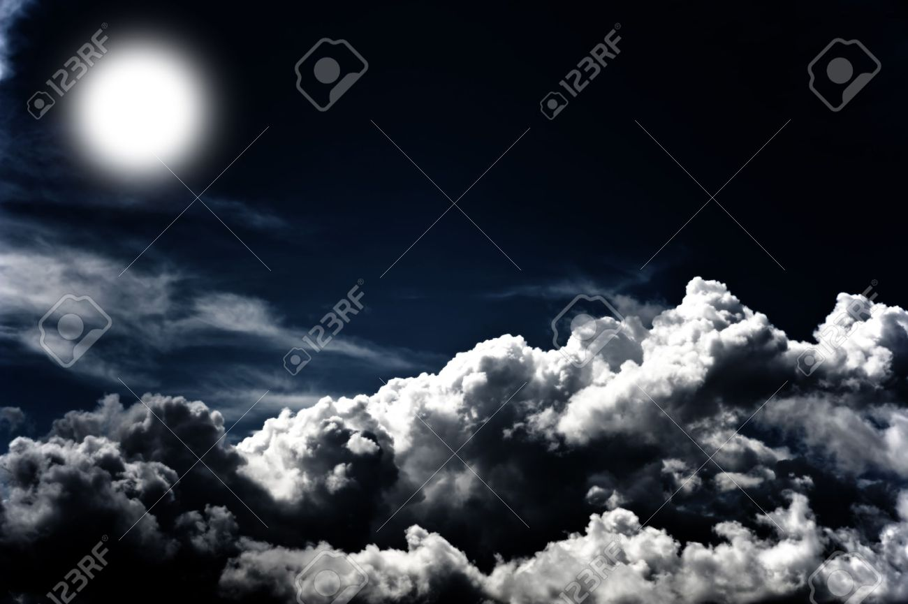 Image of a dark cloudy sky with moon Stock Photo - 9753943