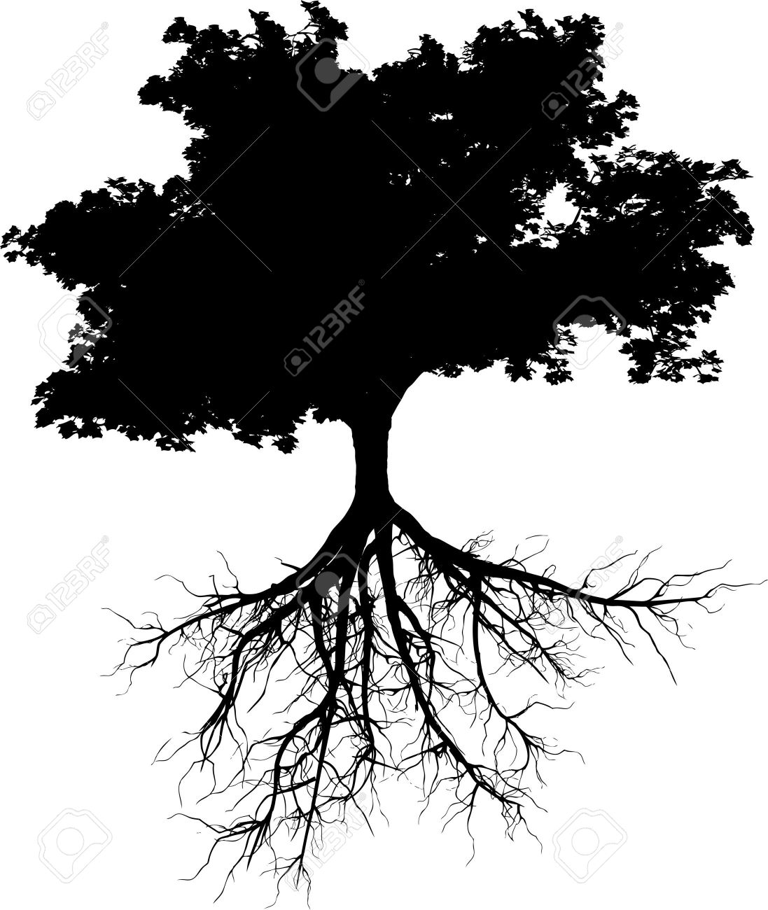 siluetas de árbol con sus raíces ilustraciones vectoriales clip art