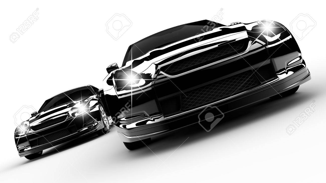 Two black cars run on a white background Stock Photo - 12725350