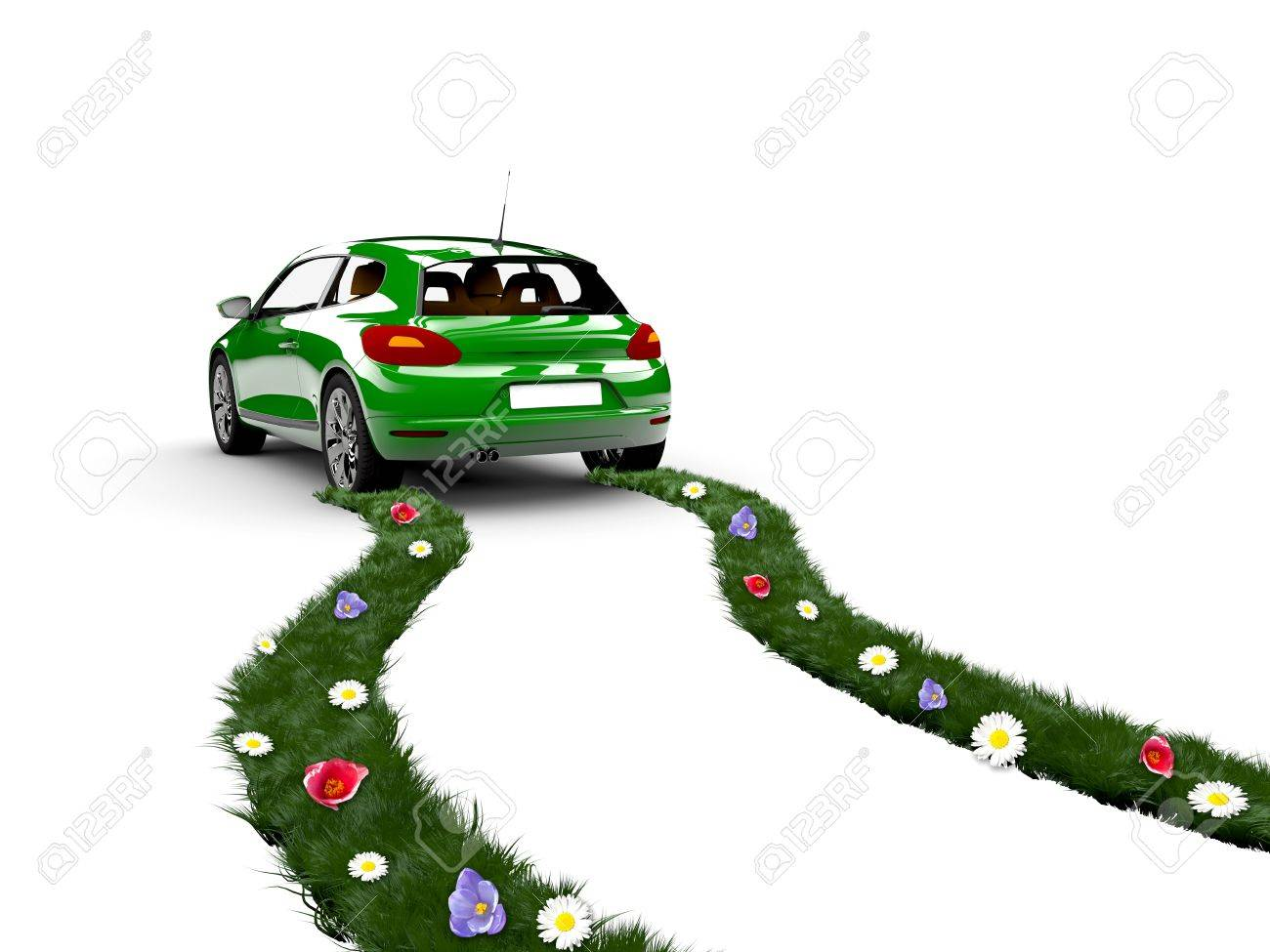 A green car drive and create grass with flowers Stock Photo - 12725361