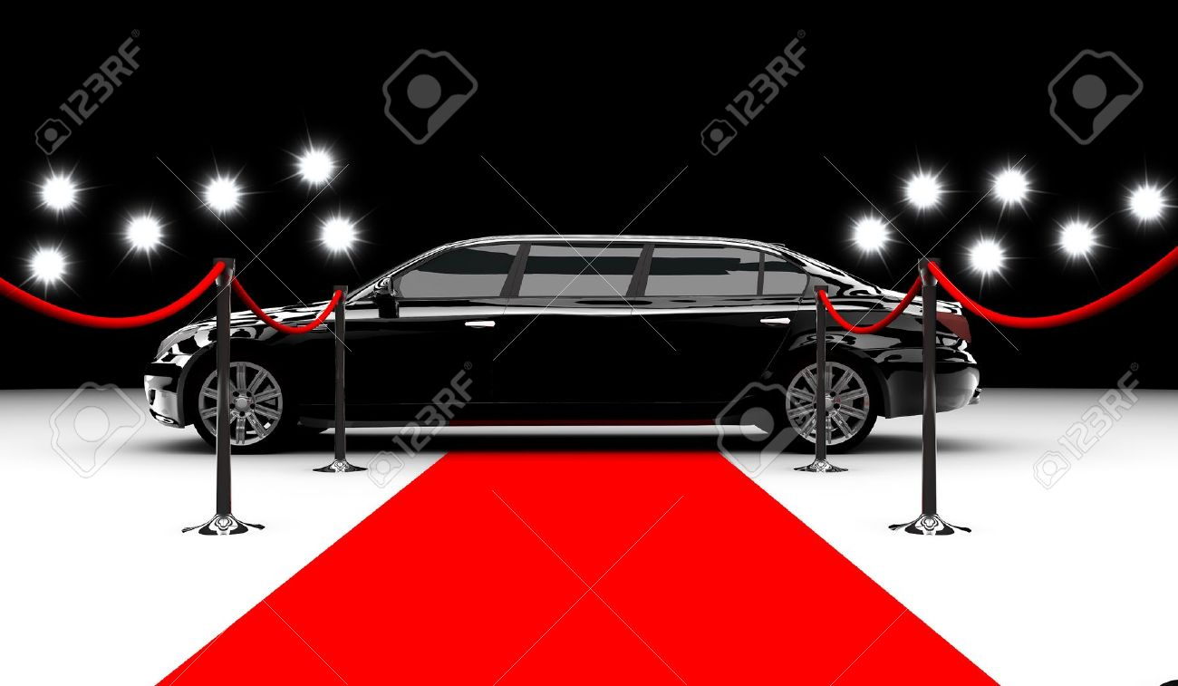 A black elegant car with a red carpet and flash Stock Photo - 14843935